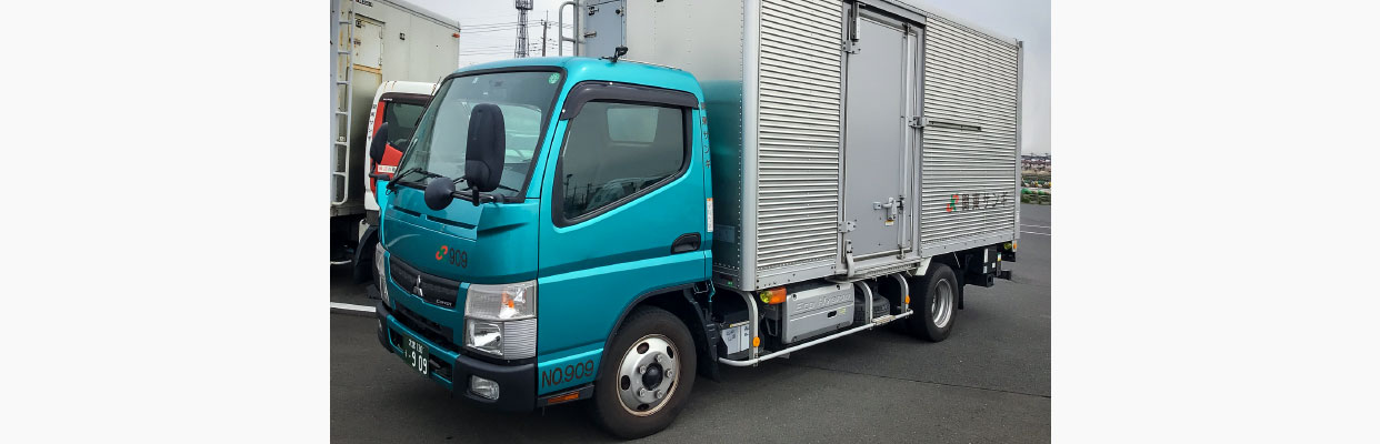 ハイブリッドトラック導入のスマホ写真